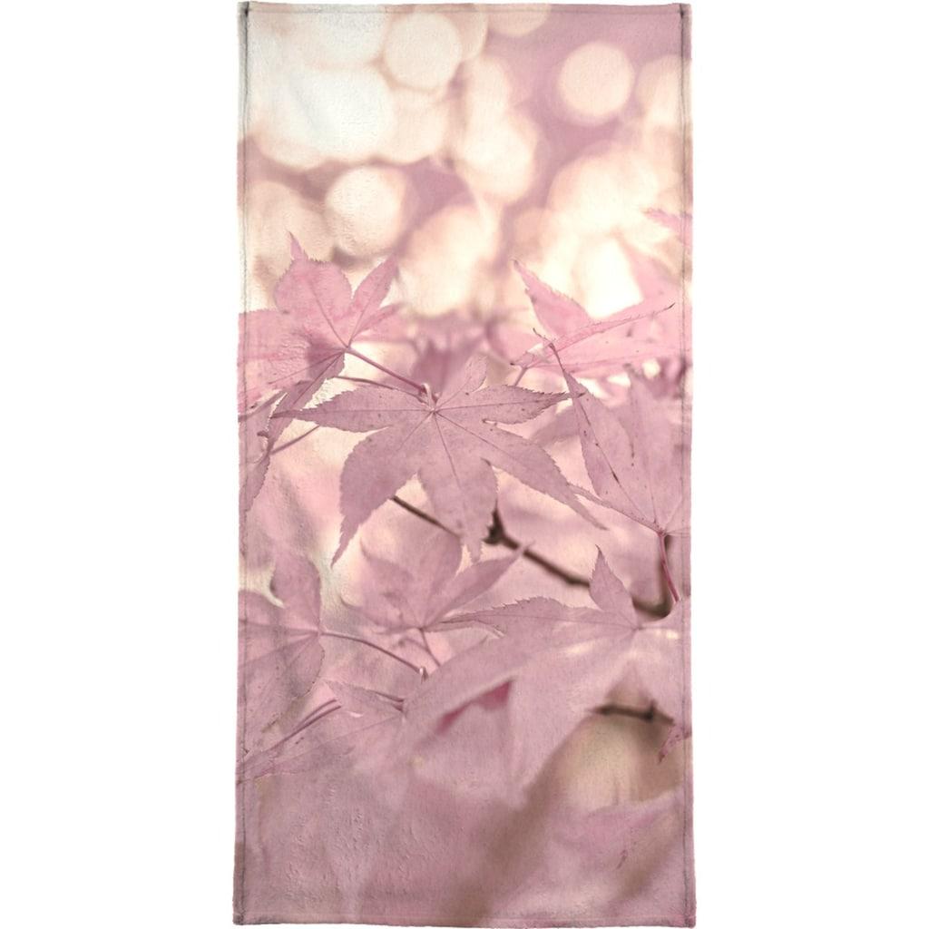 Juniqe Handtuch »Rose Maple Leaves«, (1 St.), Weiche Frottee-Veloursqualität