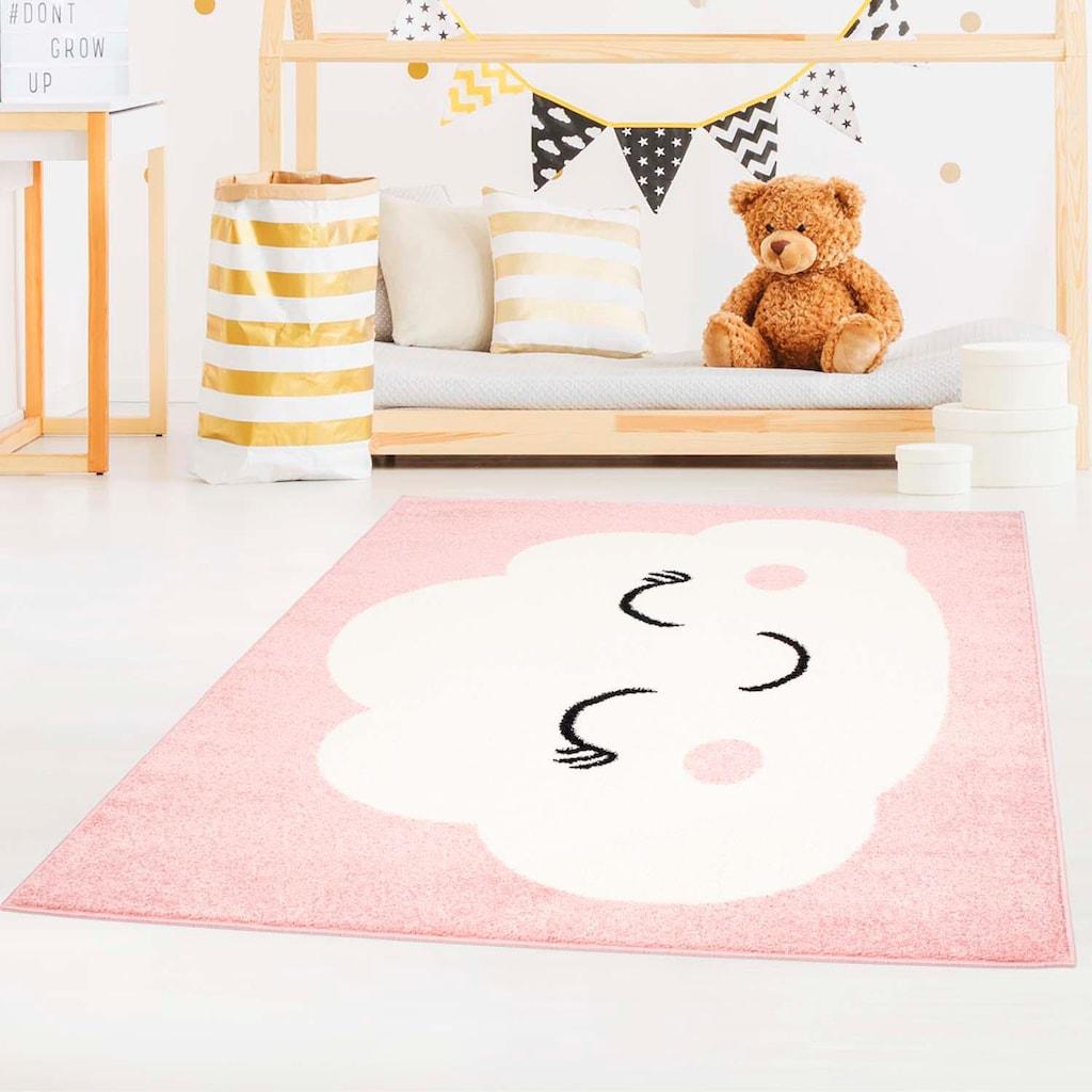 Carpet City Kinderteppich »Bubble Kids 1324«, rechteckig, 11 mm Höhe, Wolken Design, Kurzflor