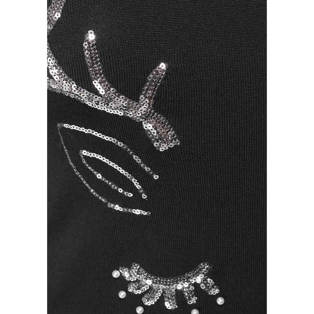 KangaROOS Strickkleid, mit glitzerndem Christmas-Motiv