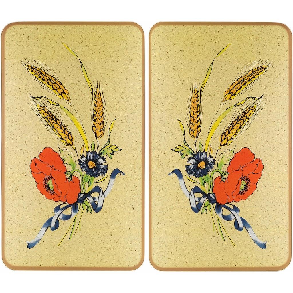 WENKO Herd-Abdeckplatte »Kornblumen«, rutschfesten Spezialfüße