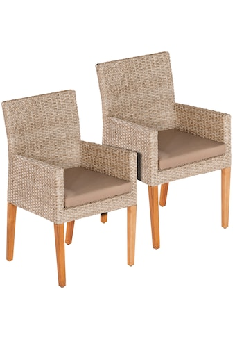 MERXX Gartensessel »Ranzano«, 2er Set, Polyrattan/Akazie, inkl. Sitzkissen kaufen