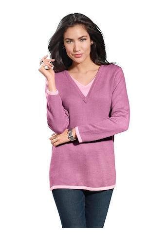Classic Basics Pullover mit kontrastfarbenem Einsatz am V - Ausschnitt kaufen
