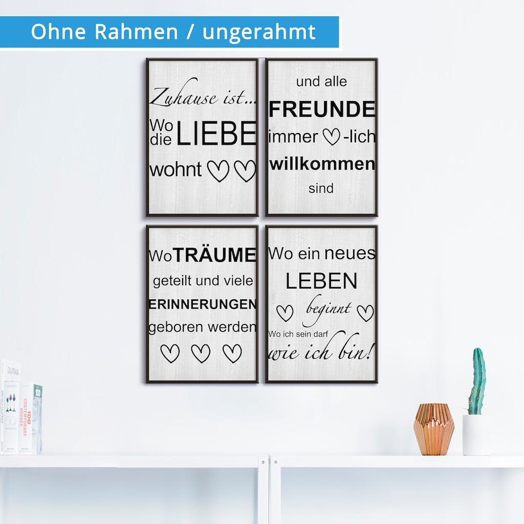 Artland Poster »Wo die Liebe wohnt 1-4«, Sprüche & Texte, (4 St.), Poster, Wandbild, Bild, Wandposter