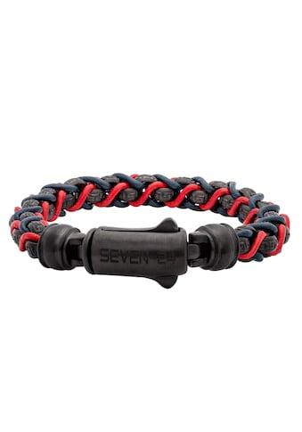 SEVEN - 24 Armband »SEVEN - 24,MS,ARMBAND,STAHL SCHWARZ,LEDER BLAU - ROT,M/L, SVMS015 - M, SVMS015 - L« kaufen