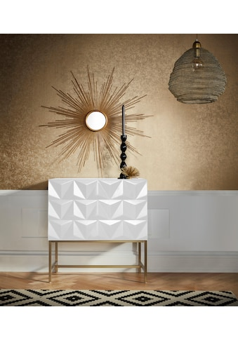 Leonique Sideboard »Rovuma«, in 3D-Optik und goldfarbenem Metallgestell kaufen