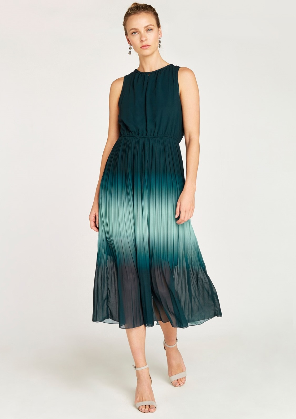 Image of Apricot Chiffonkleid »Ombre Grecian Neck Midi Dress«