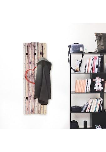 Artland Garderobenpaneel »Vintage Hintergrund Holzwand mit Herz«, platzsparende... kaufen