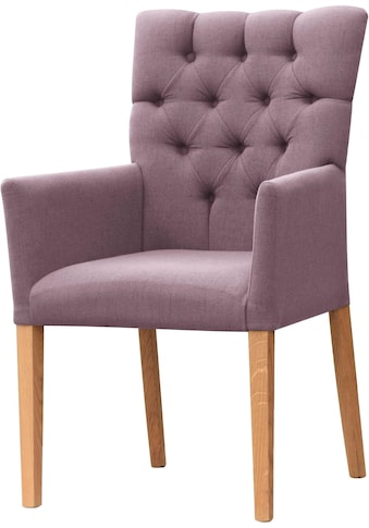 Leonique Armlehnstuhl »Peillon«, mit Knopfsteppung, Beine aus massiver Eiche kaufen