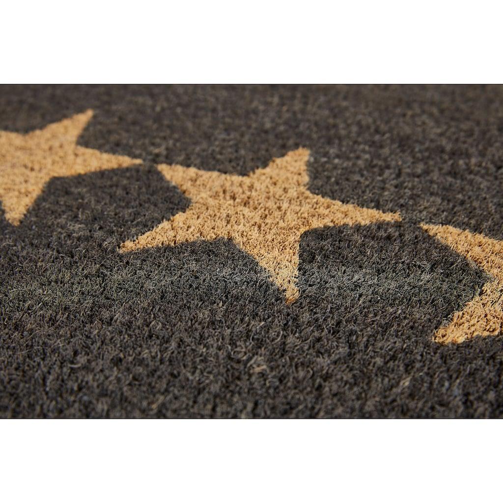 Andiamo Fussmatte »Kokos Star«, rechteckig, 15 mm Höhe, Fussabstreifer, Fussabtreter, Schmutzfangläufer, Schmutzfangmatte, Schmutzfangteppich, Schmutzmatte, Türmatte, Türvorleger, Motiv Sterne, In- und Outdoor geeignet