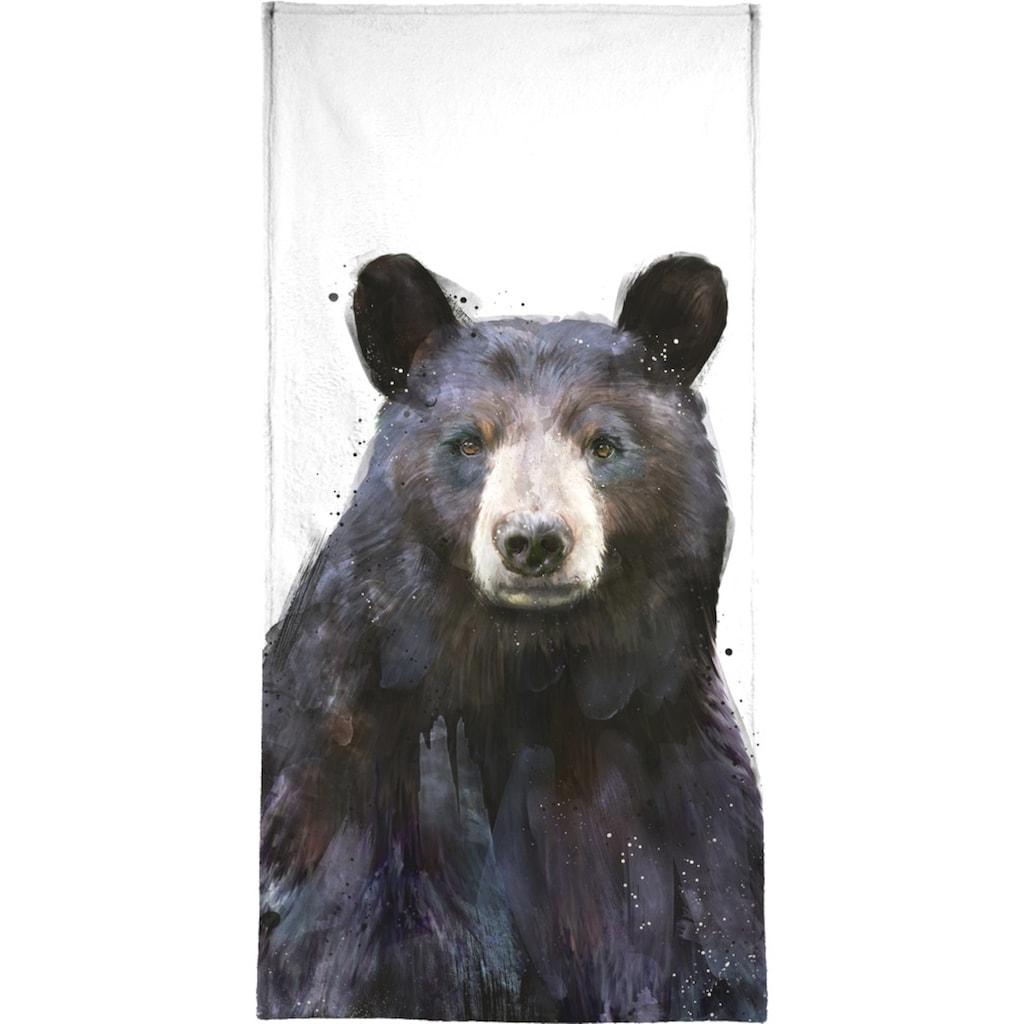 Juniqe Handtuch »Black Bear«, (1 St.), Weiche Frottee-Veloursqualität