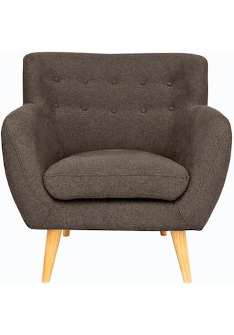 Home affaire Sessel »Noris«, mit Zierknopfheftung im Rücken, skandinavischer Stil, Holzfüsse kaufen