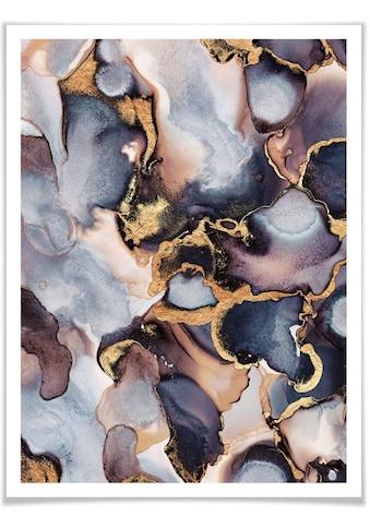Wall-Art Poster »Gold Effekt Tinte Rosé Farbverlauf«, Marmor, (1 St.), Poster, Wandbild, Bild, Wandposter kaufen