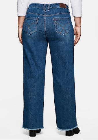 Sheego Stretch-Jeans, »Die Weite« mit Fransensaum kaufen