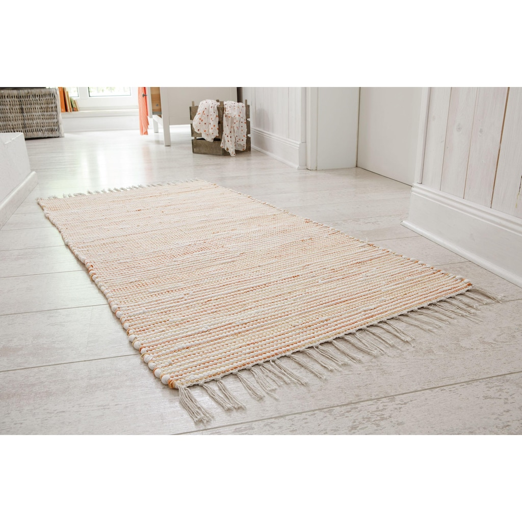 Andiamo Teppich »Milo 1«, rechteckig, 5 mm Höhe, Flachgewebe, reine Baumwolle, handgewebt, mit Fransen, Wohnzimmer