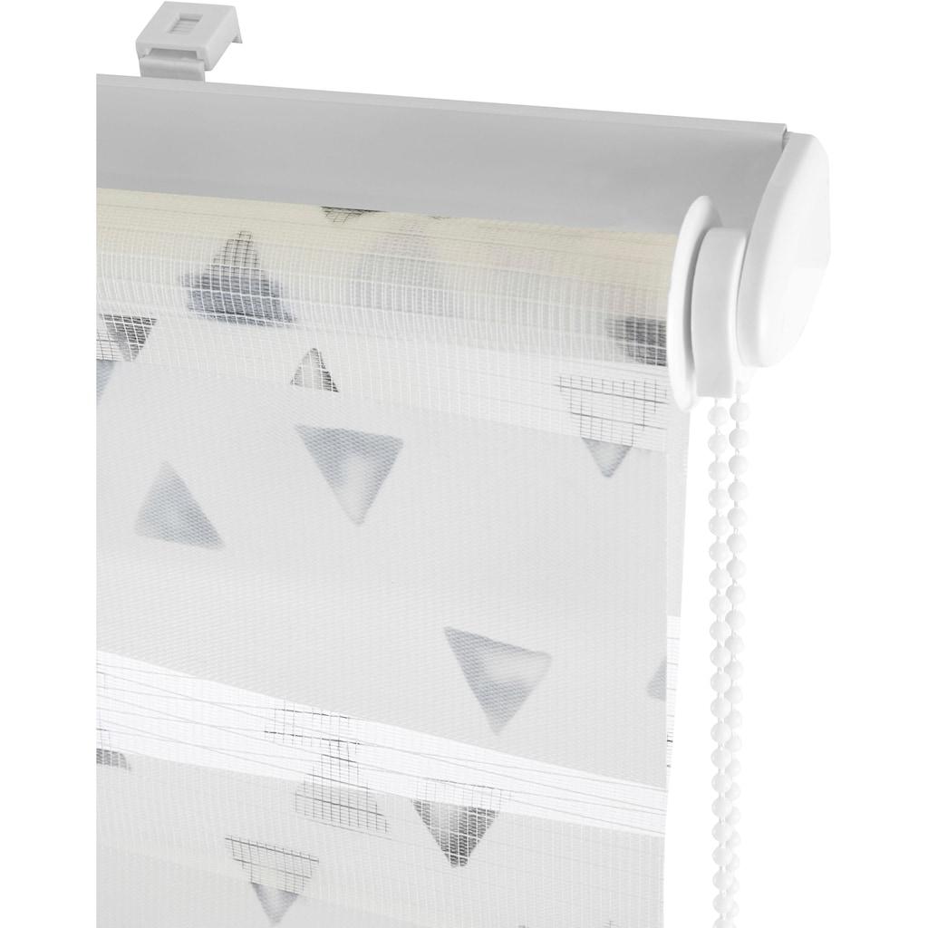 my home Doppelrollo »Dreiecke«, Lichtschutz, ohne Bohren, freihängend, im Fixmass