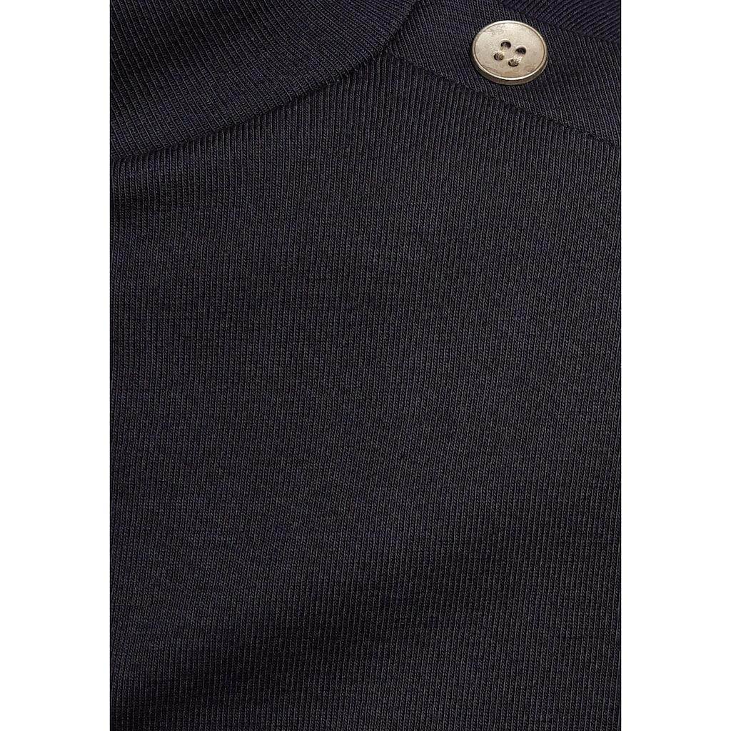 AJC Langarmshirt, mit Streifen und goldenen Knöpfen an der Schulter