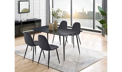 Leonique Essgruppe »Eadwine«, (Set, 5 tlg.), bestehend aus Eadwine Esstisch 160 cm und 4 Eadwine Esszimmerstühlen kaufen