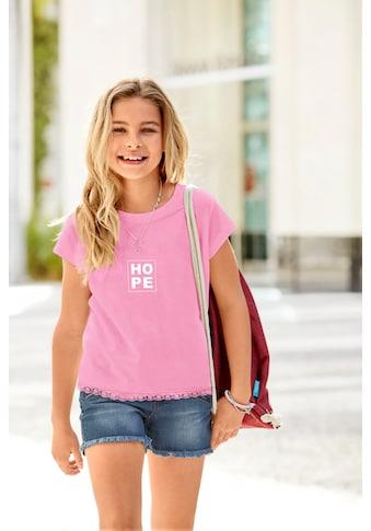 Arizona T-Shirt »HOPE«, kurze Form mit Spitze am Saum kaufen