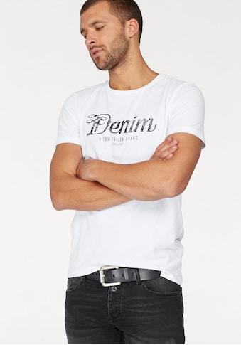 TOM TAILOR Denim Rundhalsshirt, mit Markendruck in used Optik kaufen