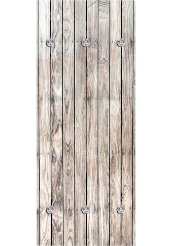 queence Garderobenpaneel »Holzwand«, mit 6 Haken, 50 x 120 cm kaufen