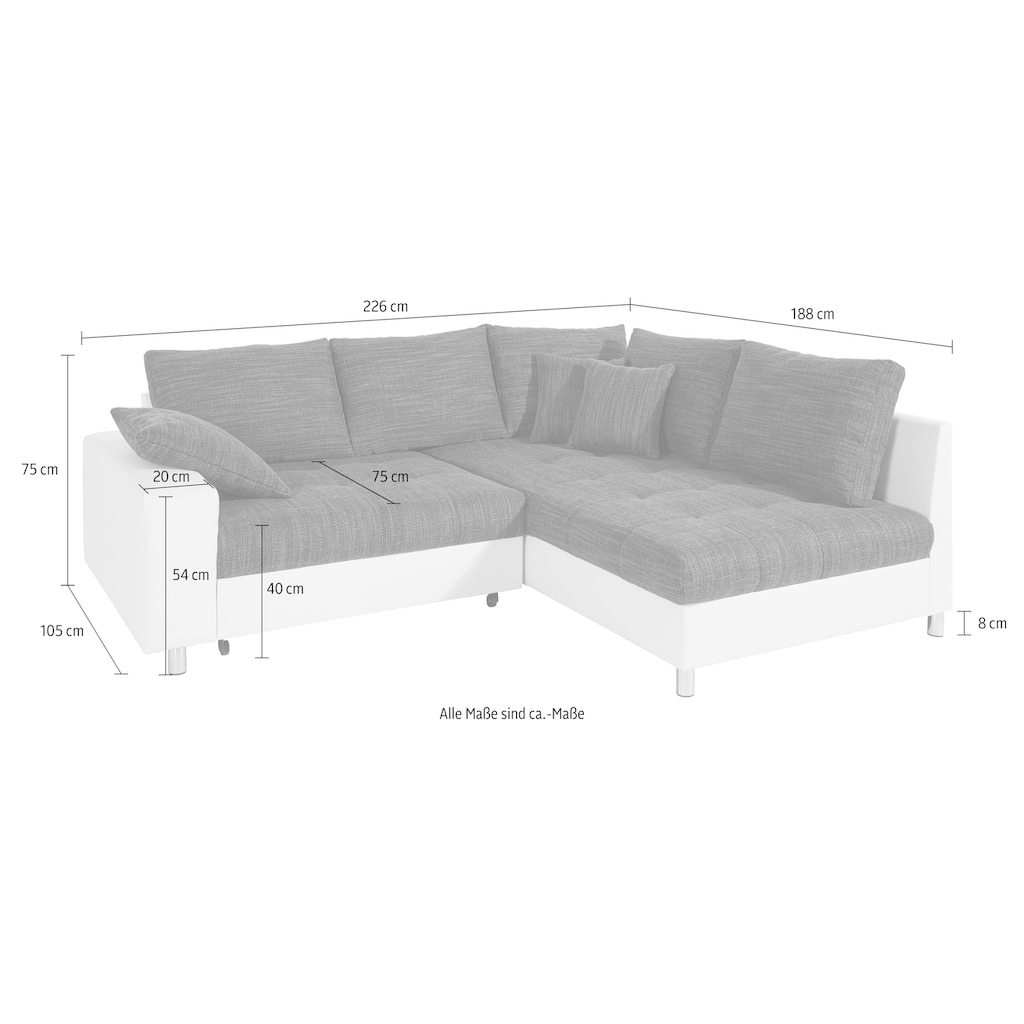 Nova Via Ecksofa, wahlweise mit Kaltschaum (140kg Belastung/Sitz), RGB-LED-Beleuchtung und Bettfunktion