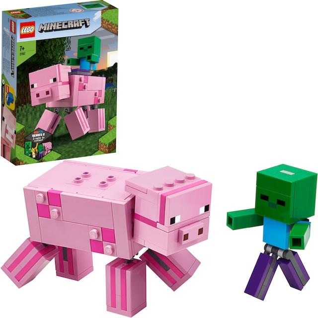 """LEGO® Konstruktionsspielsteine """"BigFig Schwein mit Zombiebaby (21157), LEGO® Minecraft™"""", Kunststoff, (159-tlg.)"""
