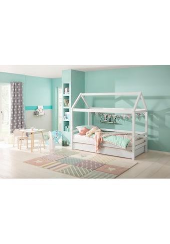Lüttenhütt Kinderbett »Alpi«, aus massivem Kiefernholz, inklusive Bettschubkasten und Lattenrost, Liegefläche 90x200 cm, Hausbett kaufen