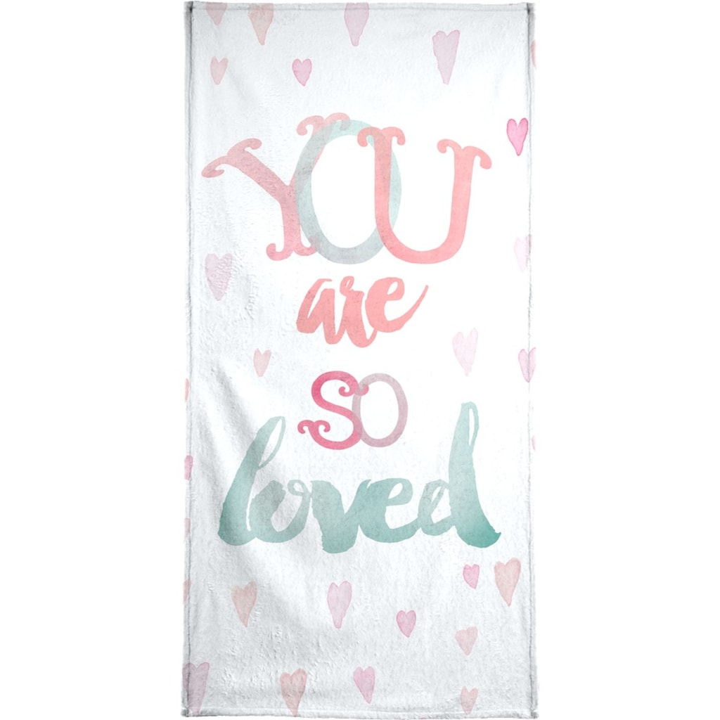 Juniqe Handtuch »You Are So Loved«, (1 St.), Weiche Frottee-Veloursqualität