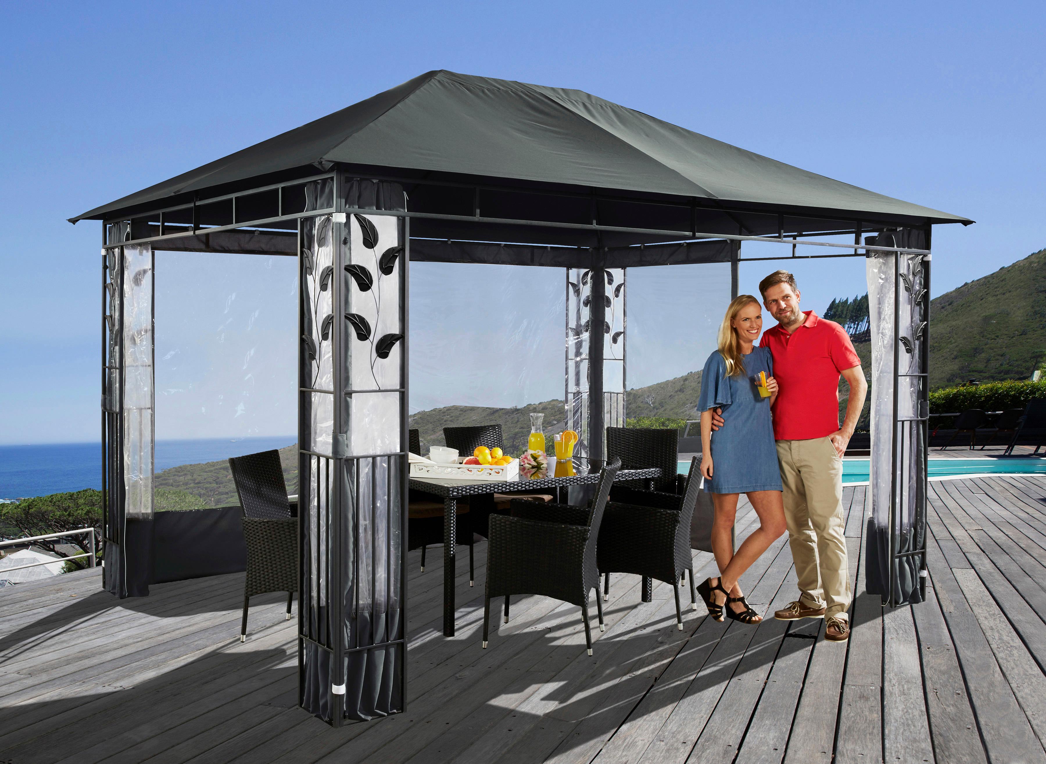 pavillon ersatzdach 3x4m grasekamp ersatzdach 3x4m gartenpavillon nizza grau pavillon. Black Bedroom Furniture Sets. Home Design Ideas