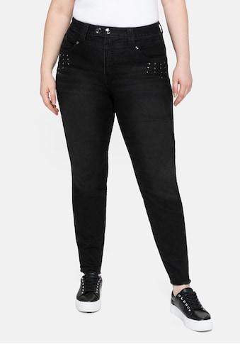 Sheego Stretch-Jeans, mit Fransensaum und Ziernieten kaufen