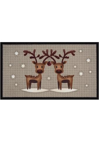 Fussmatte, »Two Reindeers«, HANSE Home, rechteckig, Höhe 7 mm, gedruckt kaufen