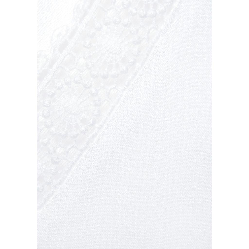 Vivance Crinklebluse, mit Spitzeneinsätzen