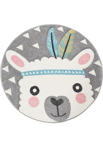 Paco Home Kinderteppich »Ela 214«, rund, 17 mm Höhe, Lama Motiv, Pastell-Farben kaufen