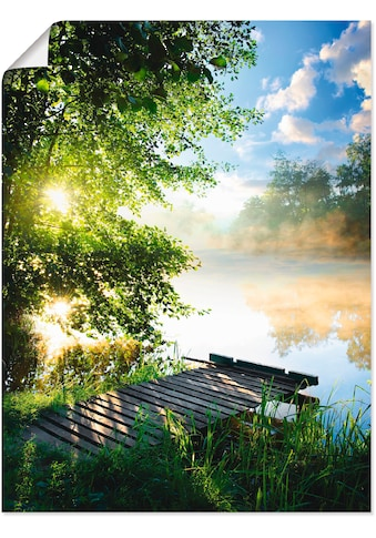 Artland Wandbild »Angelsteg am Morgen«, Gewässer, (1 St.), in vielen Grössen & Produktarten - Alubild / Outdoorbild für den Aussenbereich, Leinwandbild, Poster, Wandaufkleber / Wandtattoo auch für Badezimmer geeignet kaufen