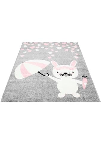 Carpet City Kinderteppich »Bubble Kids 1318«, rechteckig, 11 mm Höhe, Hase und Herzen Motiv, Kurzflor kaufen