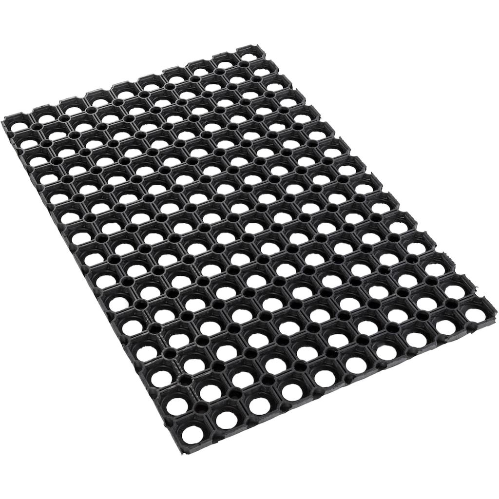 Andiamo Fussmatte »Gummi Ringmatte«, rechteckig, 15 mm Höhe, Fussabstreifer, Fussabtreter, Schmutzfangläufer, Schmutzfangmatte, Schmutzfangteppich, Schmutzmatte, Türmatte, Türvorleger, In- und Outdoor geeignet, besonders robust