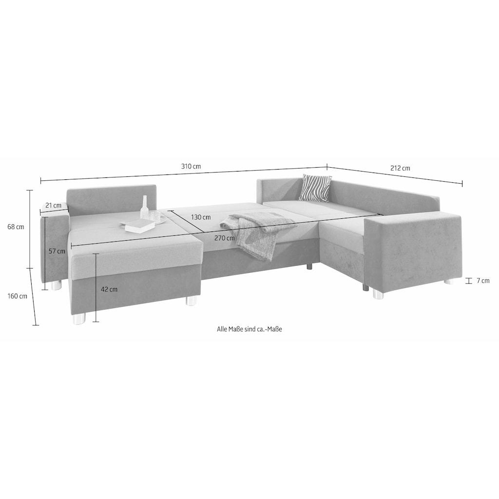 COLLECTION AB Wohnlandschaft, mit Federkern, wahlweise mit Bettfunktion und Bettkasten, inklusive loser Zier- und Rückenkissen, frei im Raum stellbar