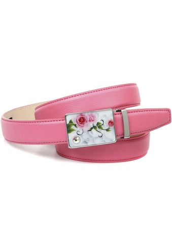 Anthoni Crown Ledergürtel, stilvoll in rosa mit silberfarbener Schliesse kaufen