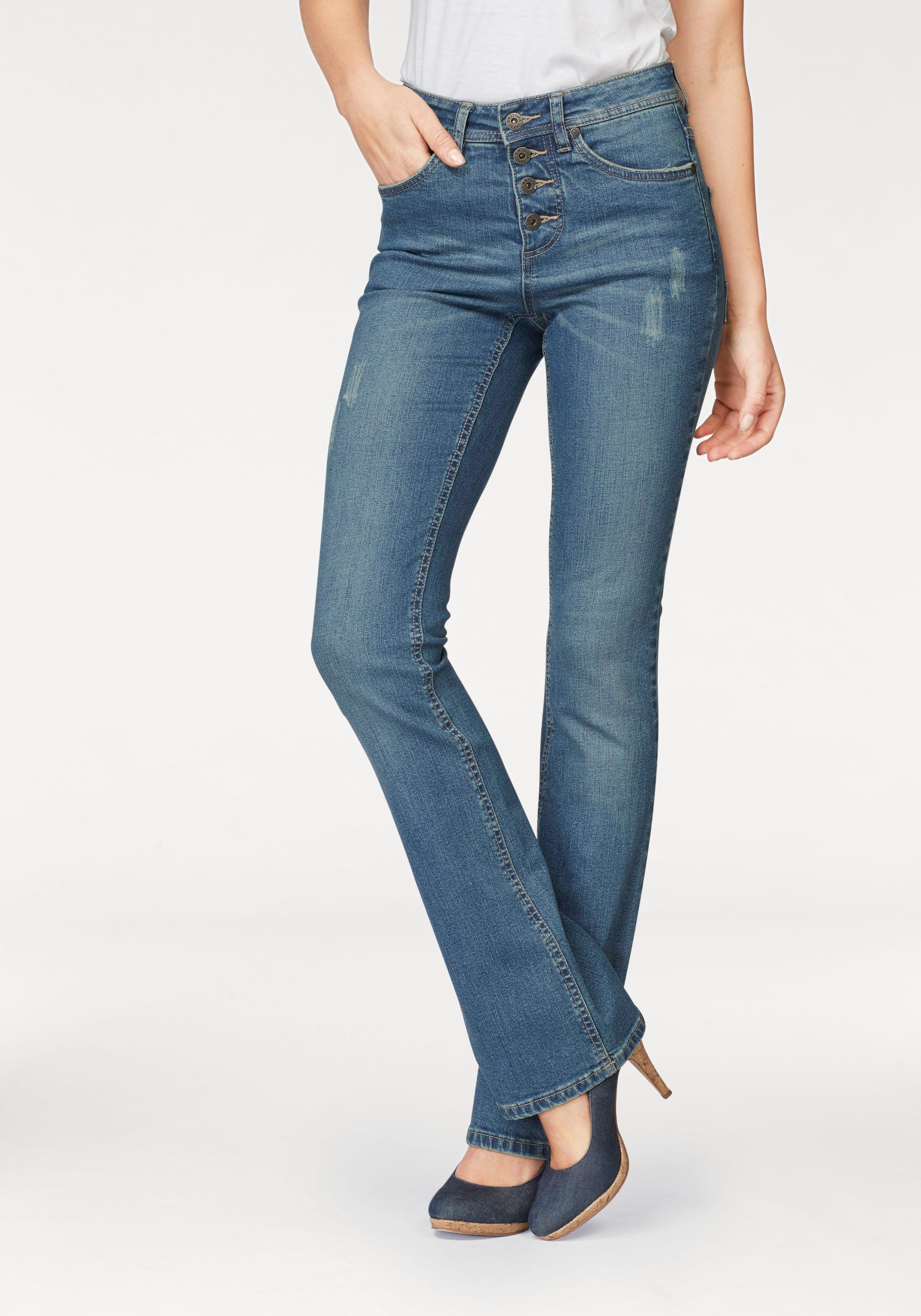 Image of Arizona Bootcut-Jeans »mit sichtbarer Knopfleiste«