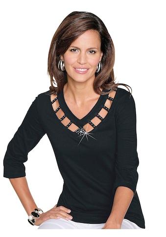 Lady Shirt schillernden Steinchen am Ausschnitt kaufen