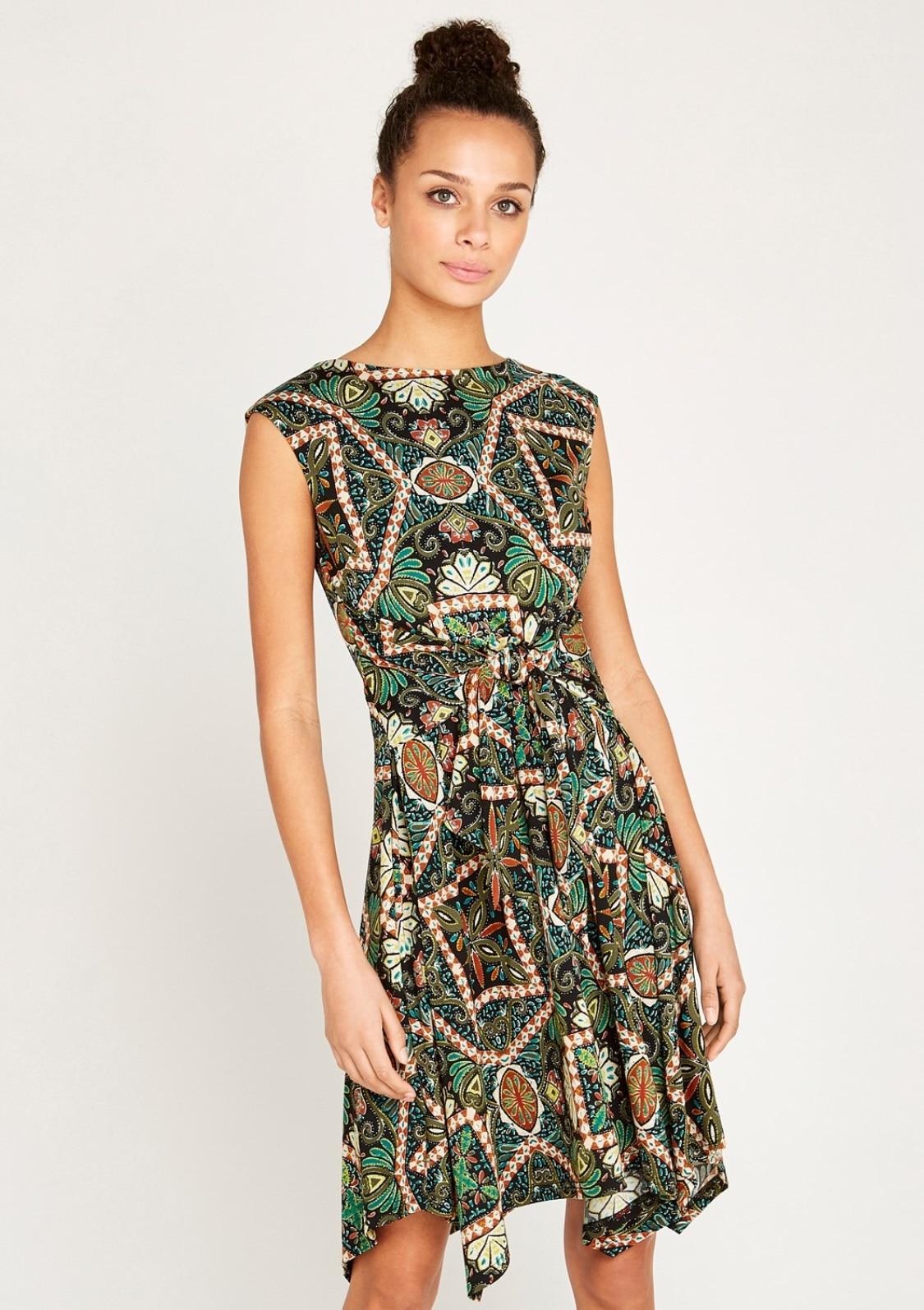 Image of Apricot Druckkleid »African Tile Hankyhem Dress«