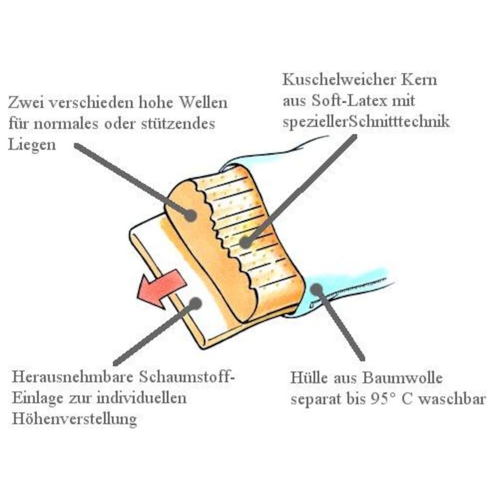 billerbeck Nackenstützkissen »Latexi«, Füllung: Soft-Latex mit besonderer Schnitt-Technik und verschieden hohen Wellen. Mit Schaumstoff-Einlage., Bezug: 100% Baumwolle, versteppt mit 100% Polyester, (1 St.)