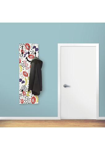 Artland Garderobenpaneel »Mund mit Pop-Art«, platzsparende Wandgarderobe aus Holz mit... kaufen