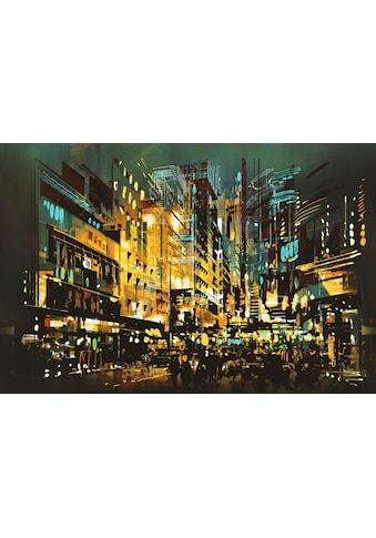 queence Leinwandbild »Beleuchtete Stadt« kaufen