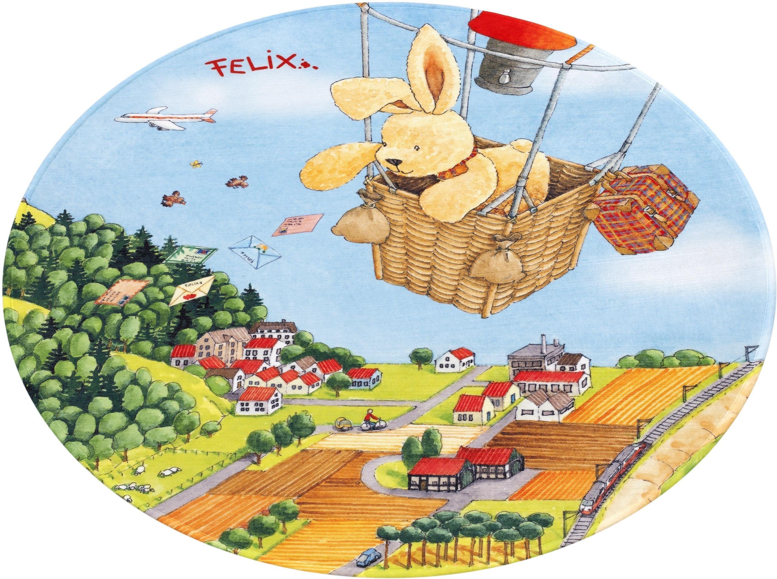 Image of Kinderteppich, »FE-415«, Felix der Hase, rund, Höhe 6 mm, gedruckt