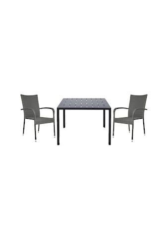 HOMEXPERTS Gartenmöbelset »Malta«, 3 - tlg., 2 Stühle, Tisch 90x90 cm, Alu/Polyrattan kaufen
