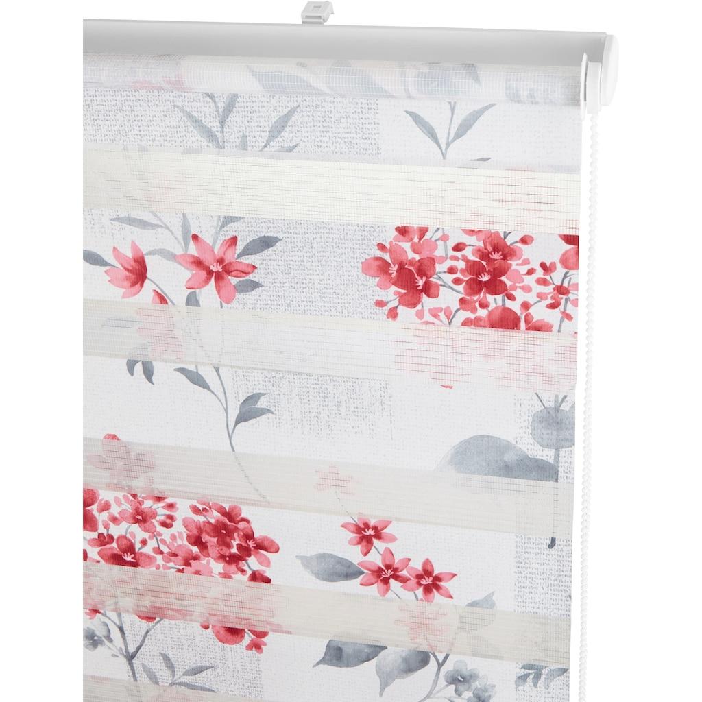 my home Doppelrollo »Fleur«, Lichtschutz, ohne Bohren, freihängend, im Fixmass