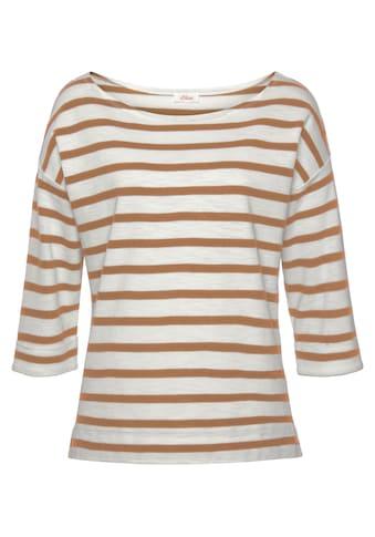 s.Oliver 3/4-Arm-Shirt, im Ringel-Look und mit kleinen Seitenschlitzen kaufen
