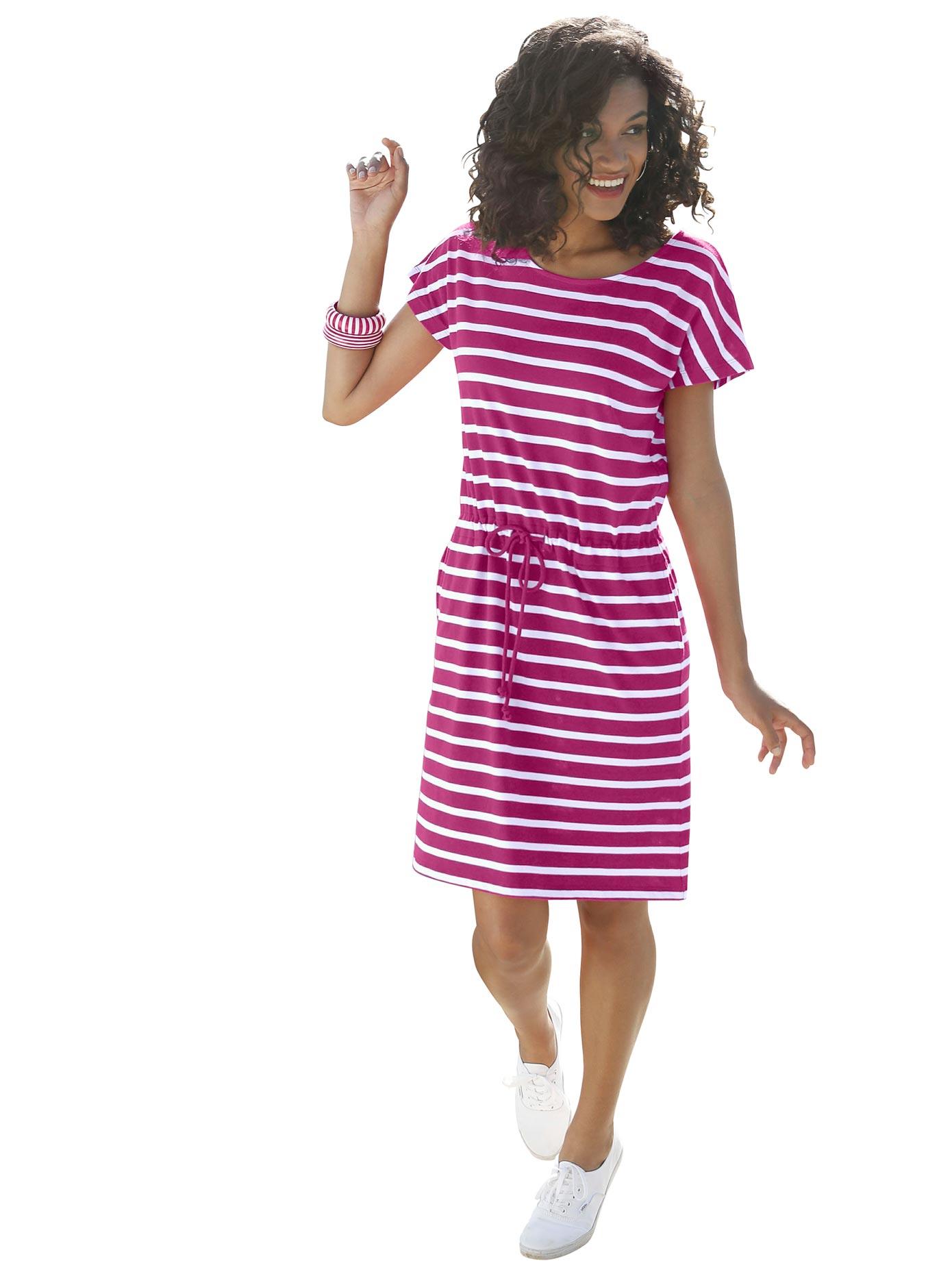 casual looks -  Jersey-Kleid in Streifen-Optik