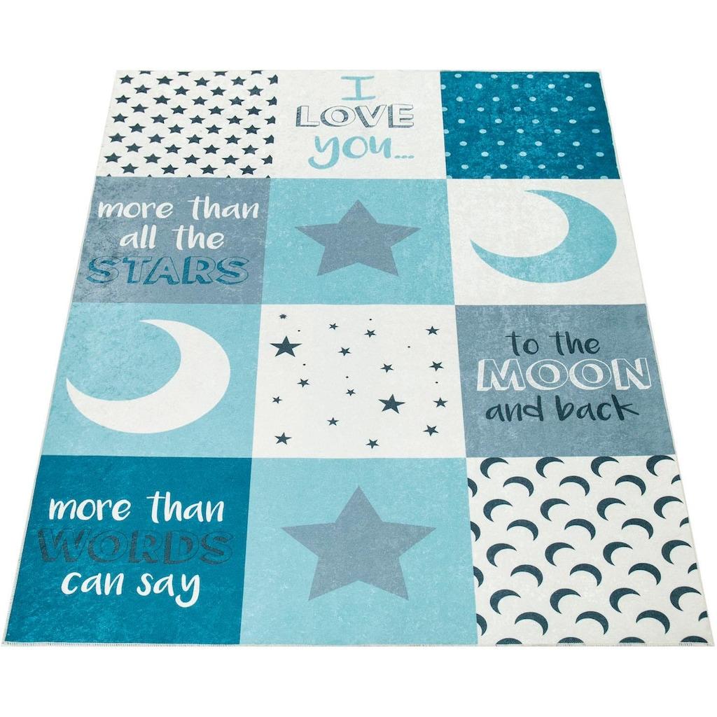 Paco Home Kinderteppich »Aleyna 101«, rechteckig, 6 mm Höhe, Kinder Design, Mond + Sterne Motiv